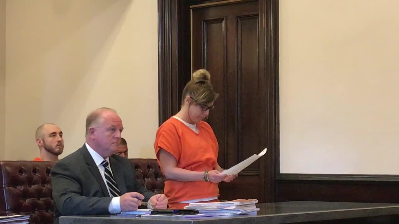 Toni L. Quillen reads a prepared statement in Coshocton County Common Pleas Court regarding her involvement in a home invasion.