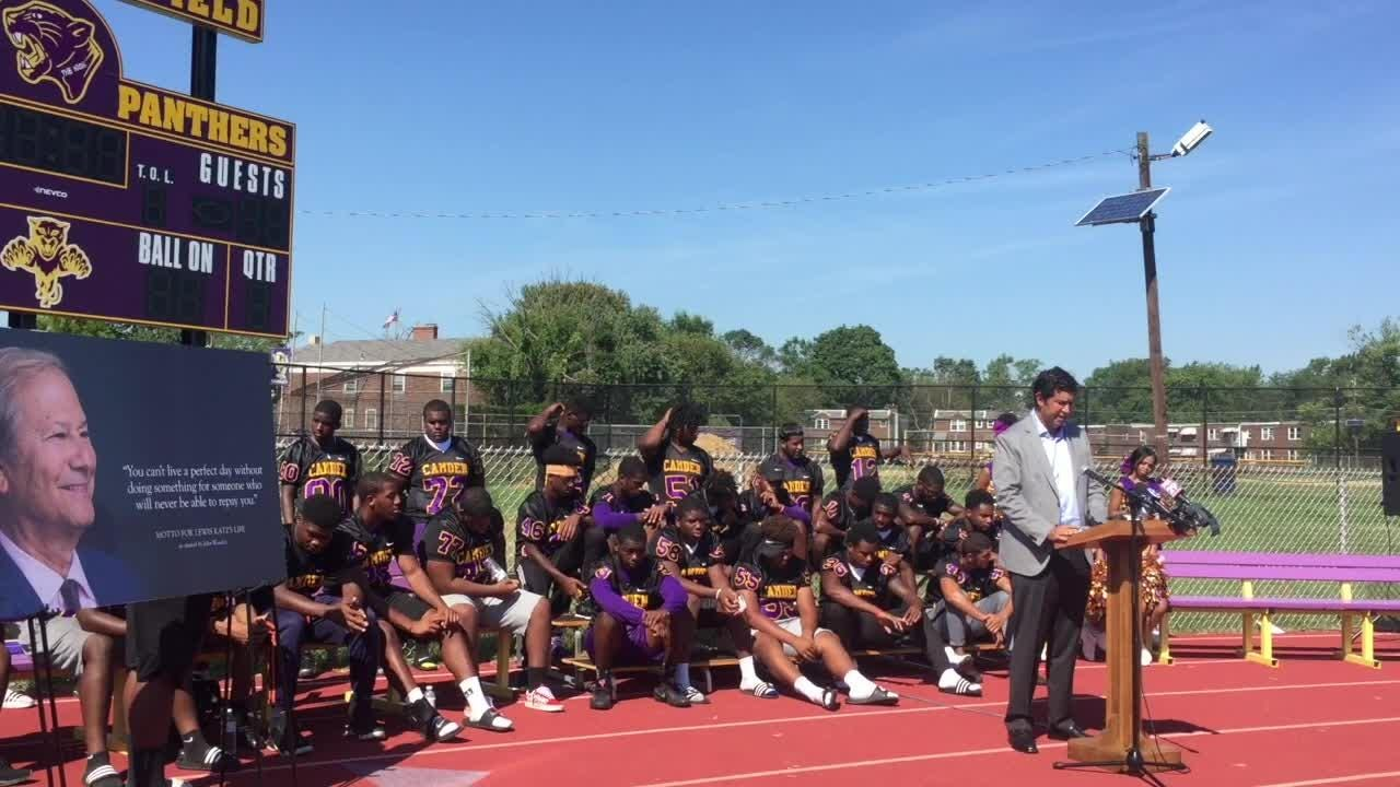 Camden High's football field has a new look and a new name, thanks to a foundation established in memory of a distinguished alum.