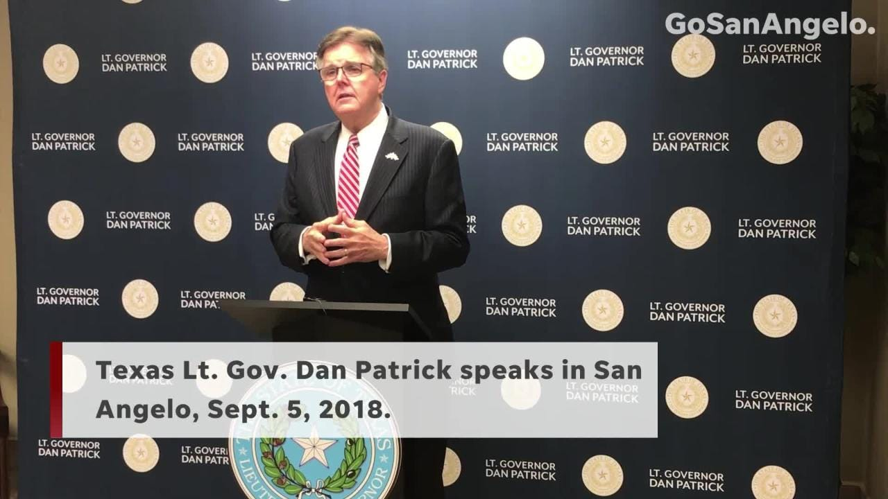 Lt. Gov. Dan Patrick stopped in San Angelo on his campaign's fall run leading up to Election Day.