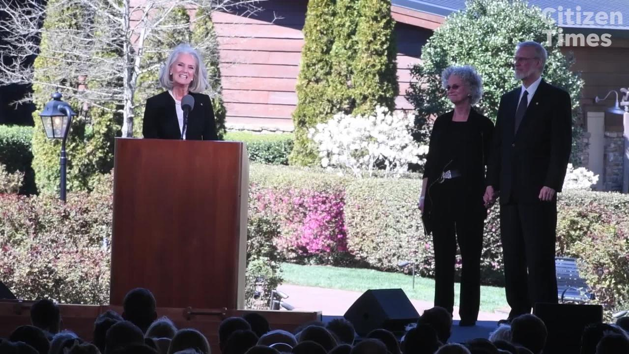 Anne Graham Lotz, daughter of the late Rev. Billy Graham, speaks at her father's funeral March 2, 2018. Lotz, 70, recently announced she has breast cancer.