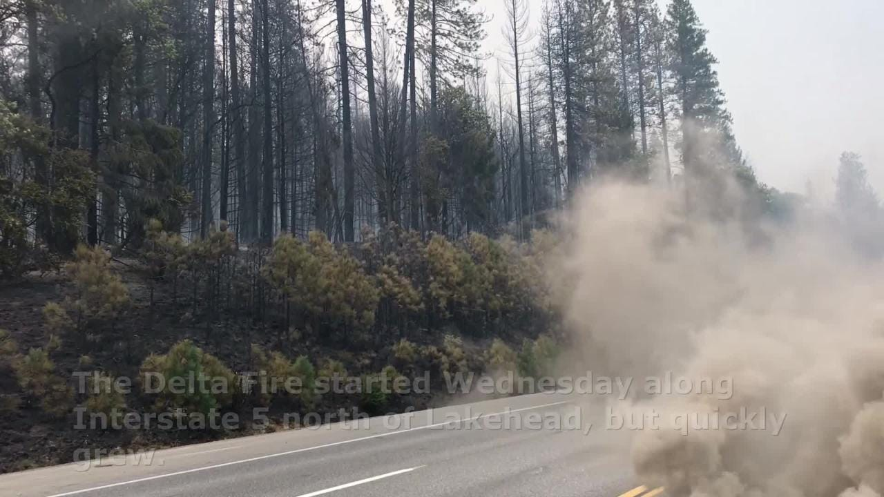 The Delta fire burned more than 5,000 acres Wednesday and still remained out of control.