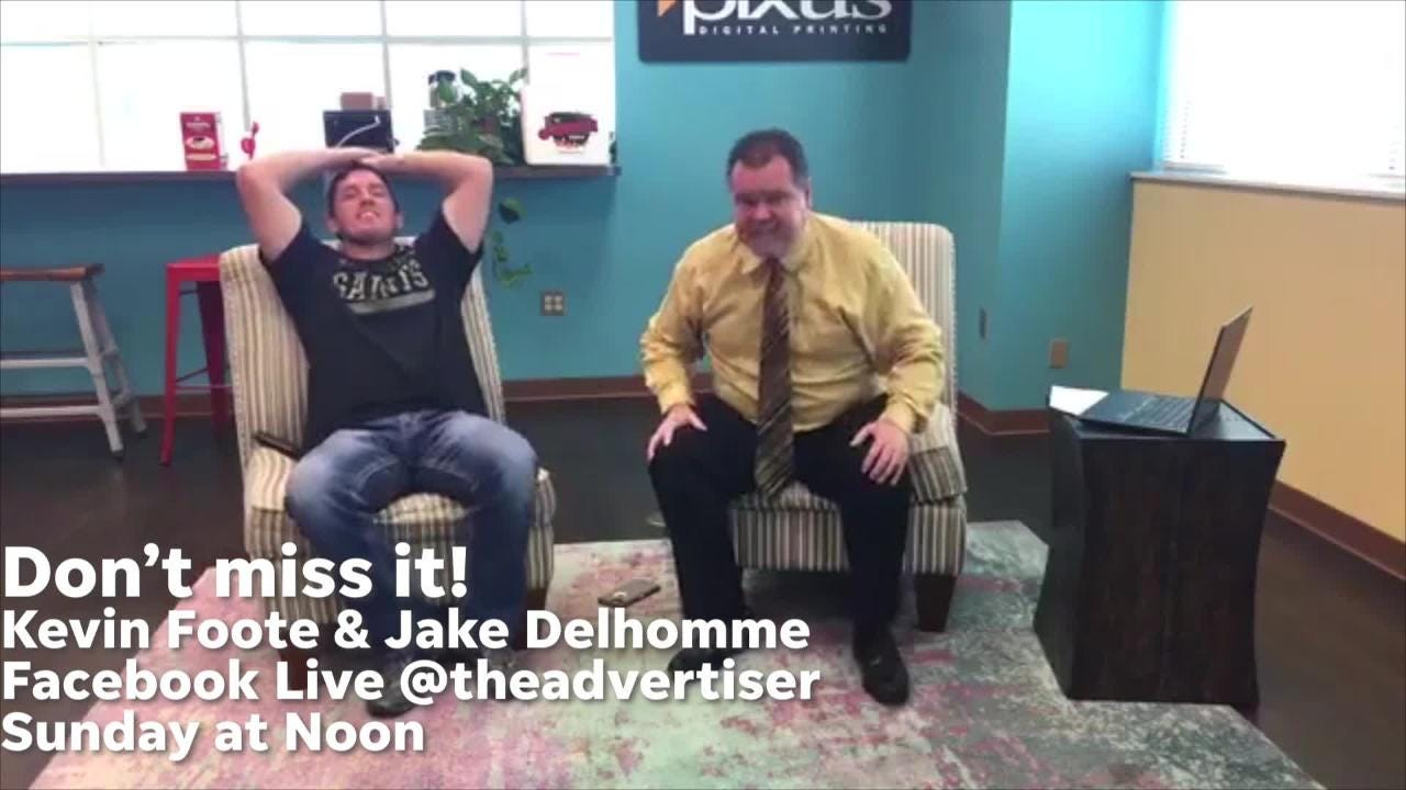 Get ready: Kevin Foote & Jake Delhomme watch the Saints game LIVE