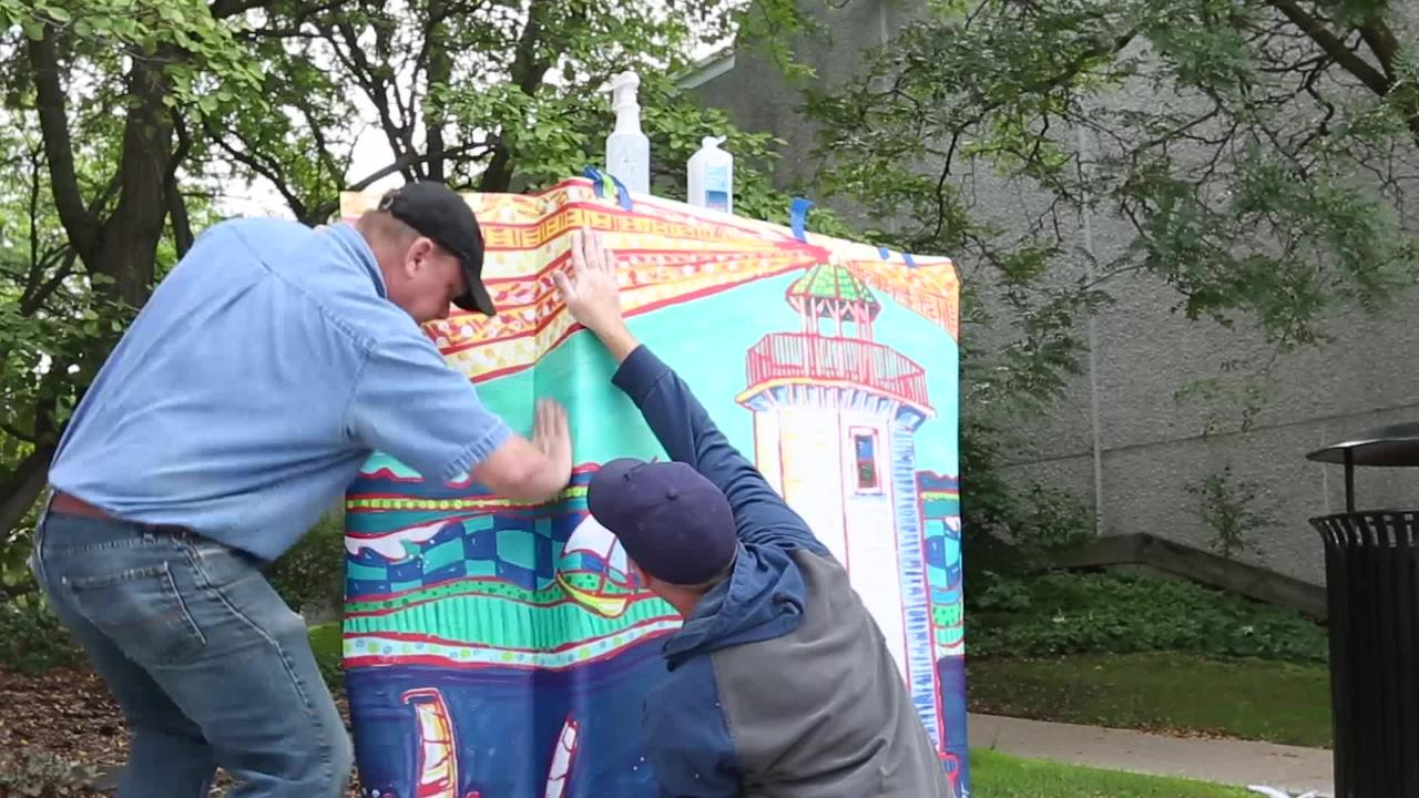 Watch as Papenheim's Sign Crafters place a vinyl wrap on a downtown Fond du Lac utility box.