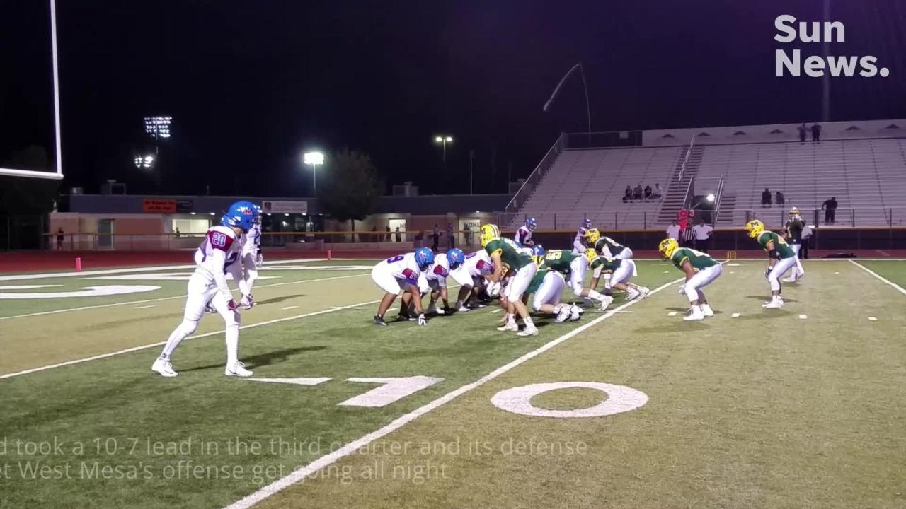 Mayfield beat West Mesa 17-7 in the Trojans' home opener Friday night at the Field of Dreams.