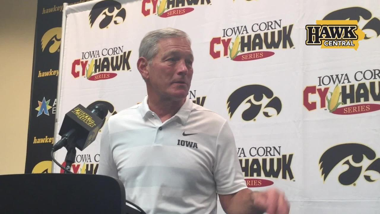 Iowa coach Kirk Ferentz discusses the profound growth of sophomore defensive end A.J. Epenesa.