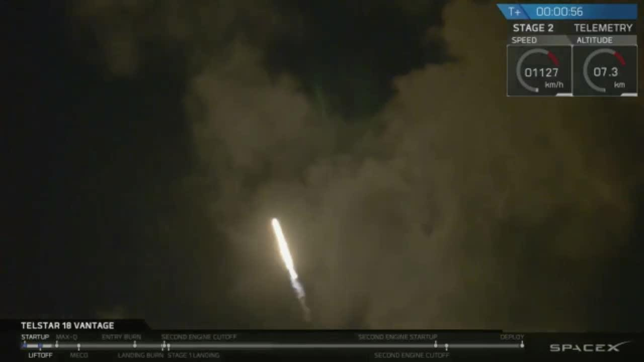 SpaceX launches Telstar 18V satellite from Cape Canaveral, lands on drone  ship