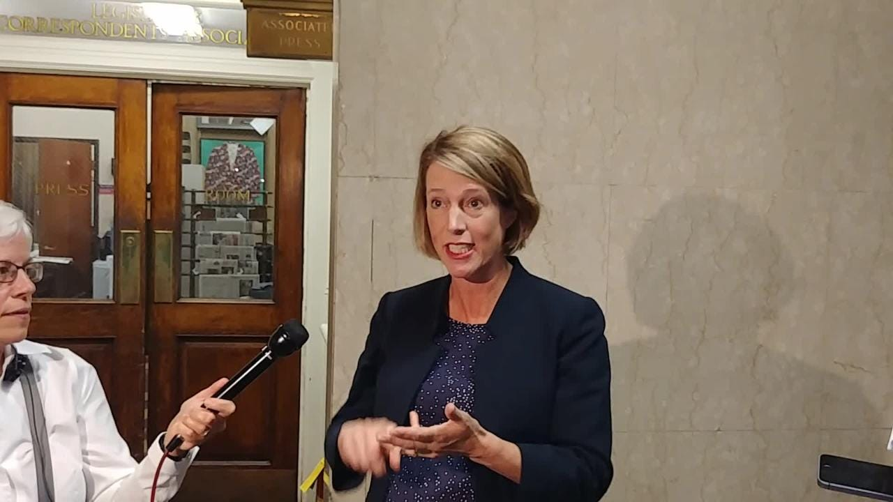 Democratic New York attorney general candidate Zephyr Teachout speaks to reporters in Albany on Monday, Sept. 10, 2018.