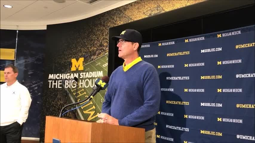 Michigan coach Jim Harbaugh discusses Tru Wilson's climb up the depth chart to earn a scholarship at running back Sept. 10, 2018.