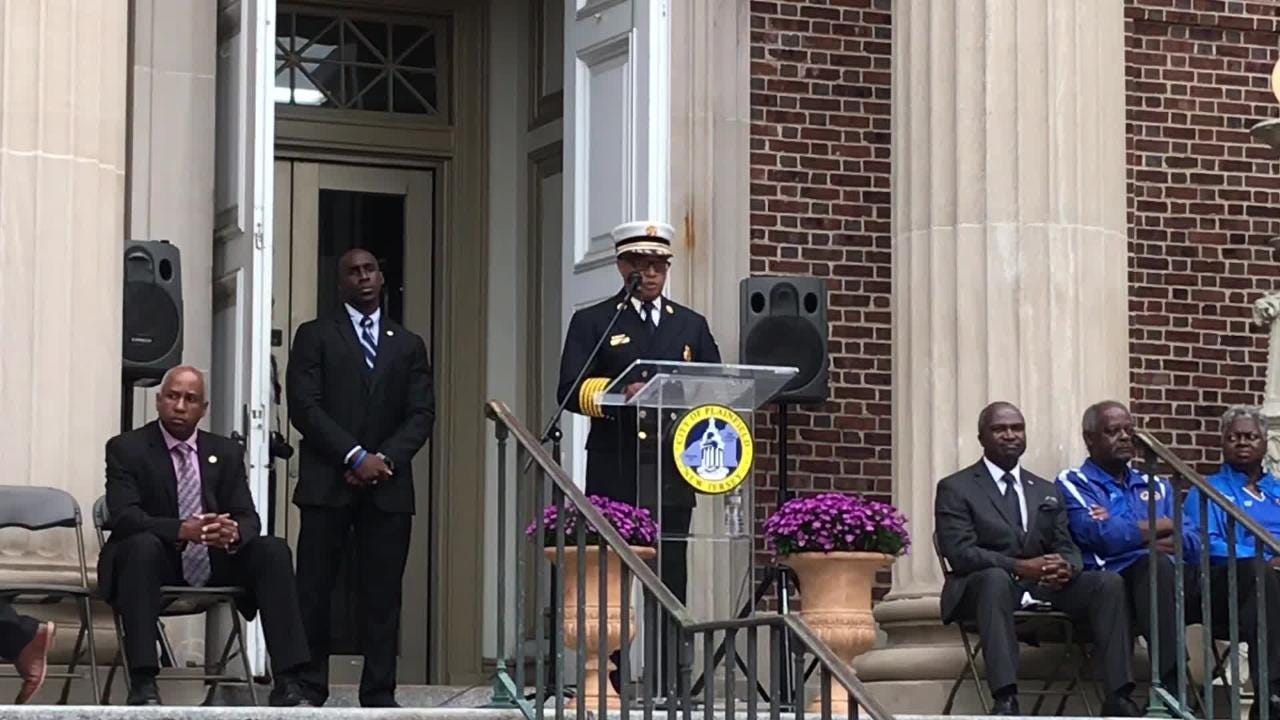 Plainfield Fire Chief Frank Tidwell spoke at the city's Sept. 11 remembrance ceremony.