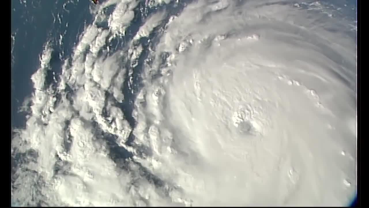 Cameras outside the International Space Station captured dramatic views of rapidly strengthening Hurricane Florence Sept. 10.