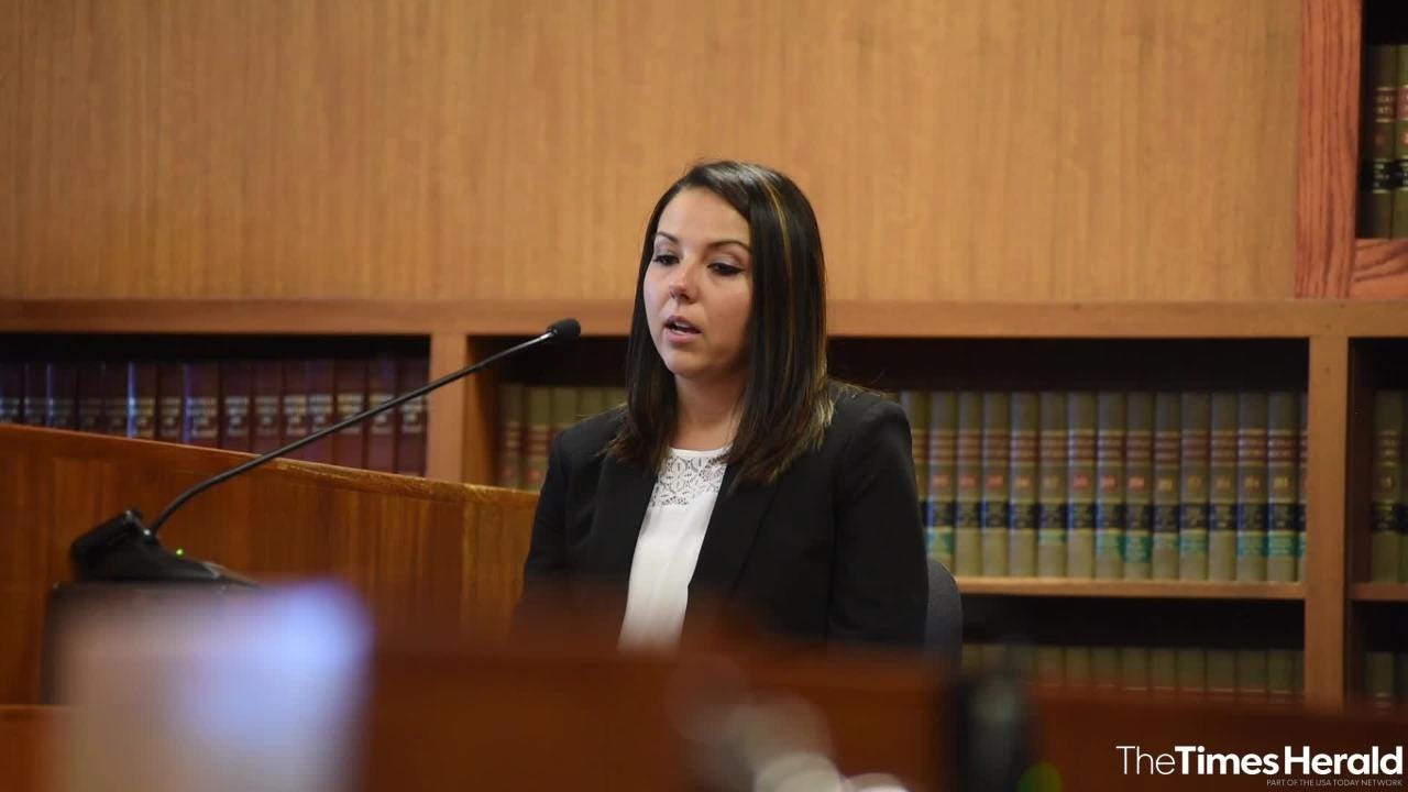 Ashly Bauman, estranged wife of Joshua Bauman, responds to questioning from St. Clair County Senior Assistant Prosecuting Attorney Melissa Keyes Tuesday, Sept. 11, 2018, during the preliminary exam for Joshua Bauman.