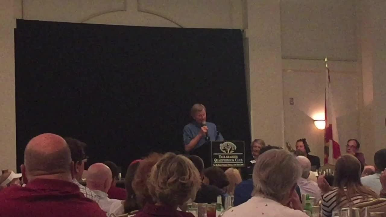The legendary UF QB and coach brought plenty of stories to his talk with the Tallahassee QB Club Tuesday night.