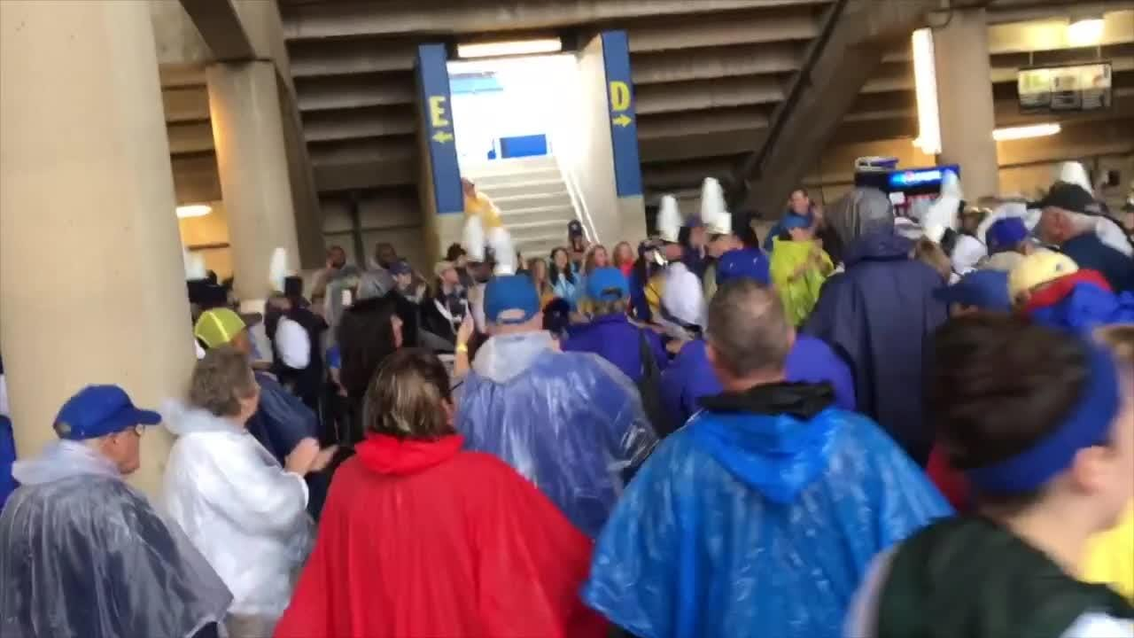 Fans line up to watch the UD Marching Band parade through the Delaware Stadium concourse before the Hens took on Lafayette Saturday.