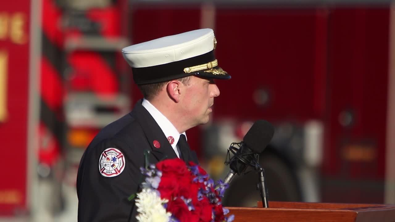 Brighton Area Fire Authority's station 31 hosts a 9-11 memorial ceremony.