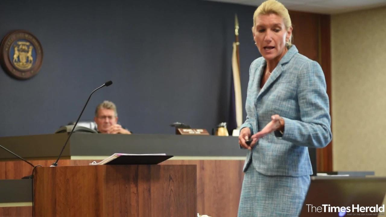 St. Clair County Senior Assistant Prosecuting Attorney Jennifer Smith Deegan ends her closing argument Wednesday, Sept. 12, 2018, during the trial for Theresa Gafken. Gafken, 36, is facing second-degree murder and other charges in a fatal crash that happened April 11.