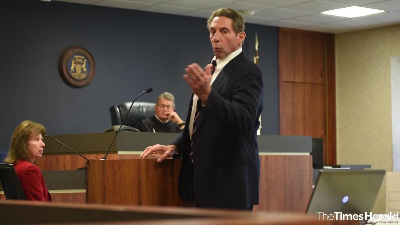 Defense attorney Edward Marshall ends his closing argument Wednesday, Sept. 12, 2018, during the trial for Theresa Gafken. Gafken, 36, is facing second-degree murder and other charges in a fatal crash that happened April 11.