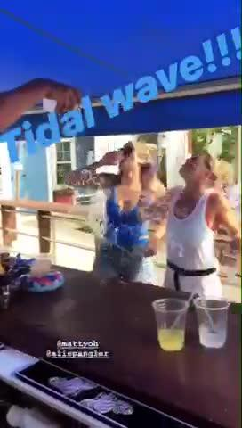 "A trick shot that involves getting doused with water, the ""Tidal Wave"" can be found in Dewey Beach bars.  Featuring (and courtesy of) Hammerheads bartender Matty Oh."