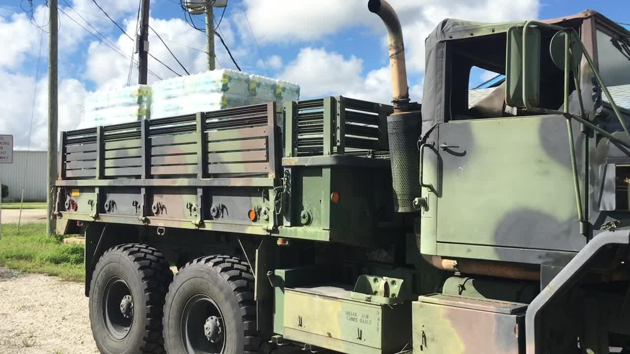 Rockledge business owner Mac Lewis is loading up his military truck with water and supplies and heading to North Carolina to help hurricane victims.