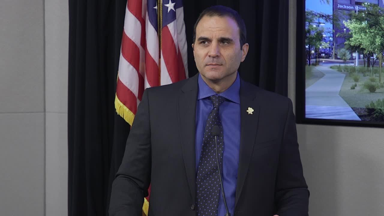 Paul Penzone speaks about a lawsuit against the department from Shane McGough, who was bit by a K9 after being detained by deputies at the Salt River.