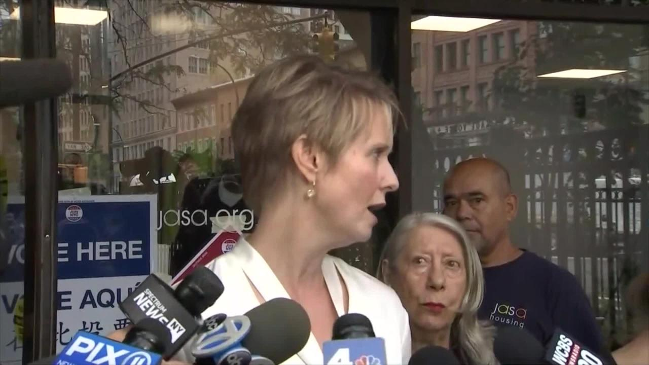 Video of Cynthia Nixon voting in the New York primary.