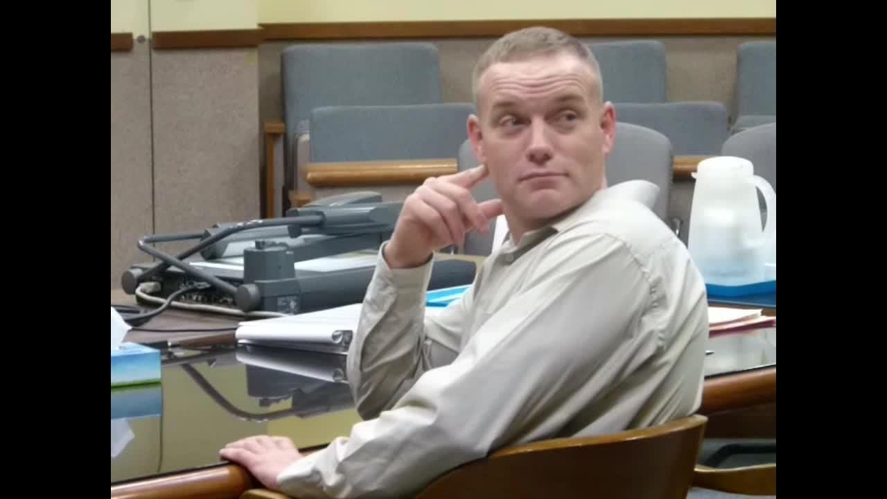 Donald Boyles sits in a Shasta County courtroom Thursday as he waits for prospective jurors to enter for his trial.