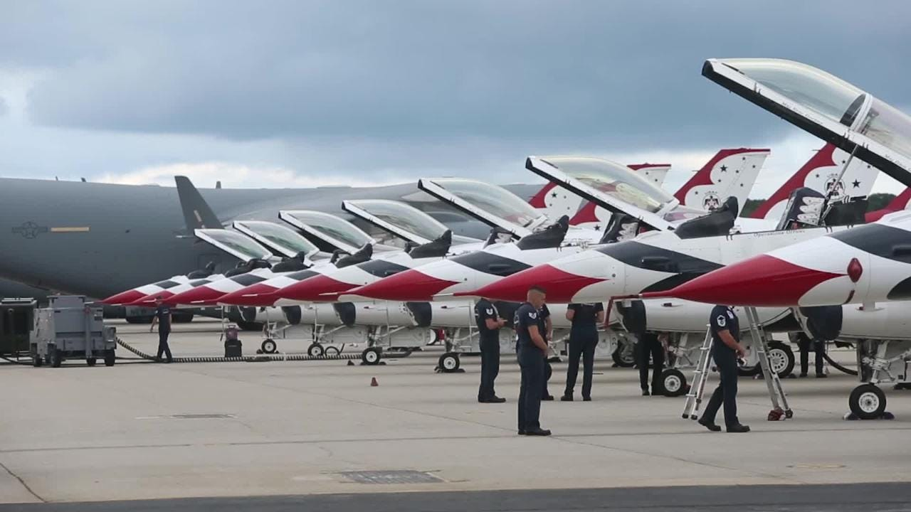 The USAF Thunderbirds prepare for the weekend's New York Air Show over Stewart Air National Guard Base in Newburgh