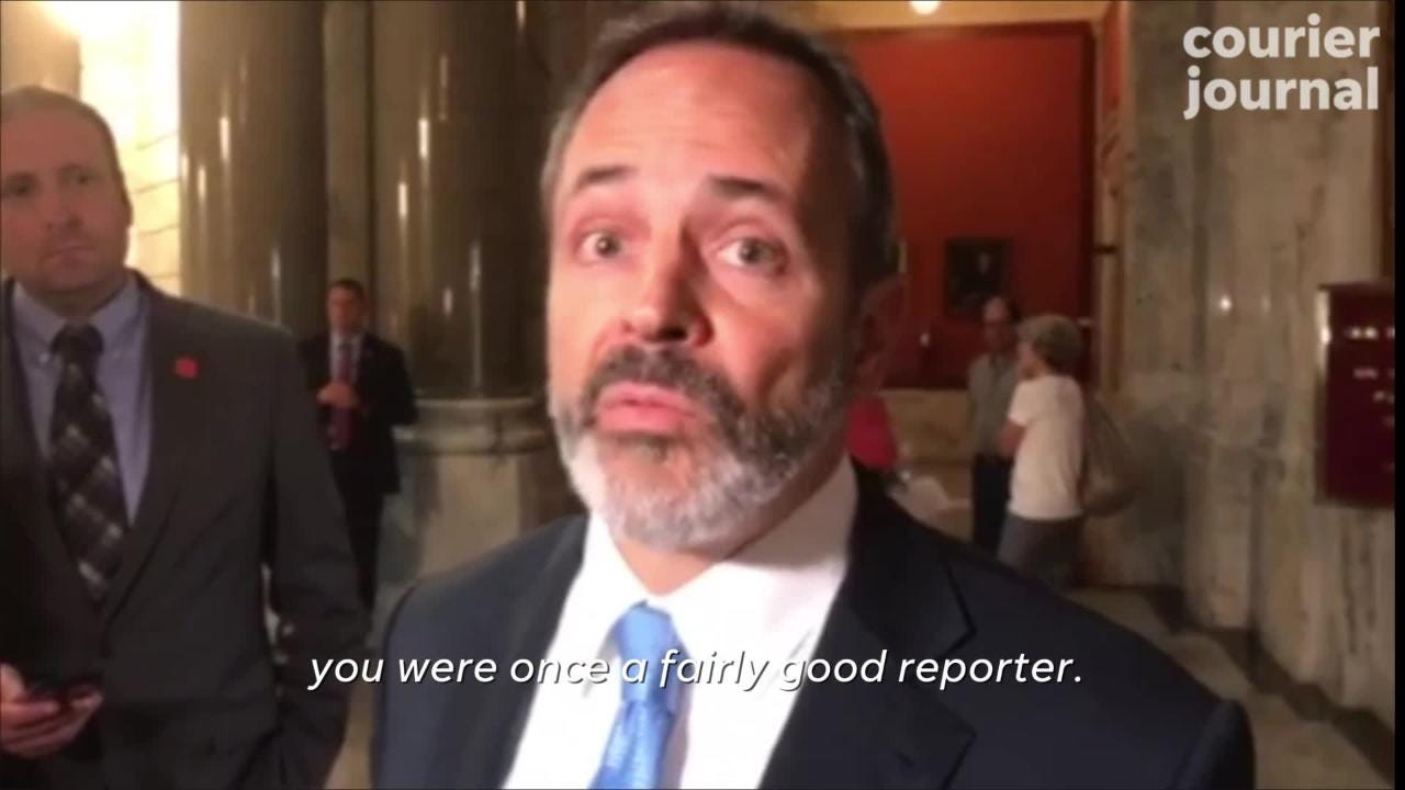 When asked about Charles Grindle's large pay hike, Gov. Matt Bevin took the offensive and attacked the veteran Courier Journal reporter.