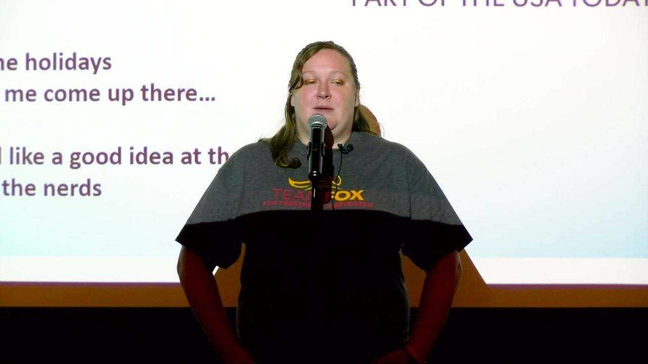 """Kate Harmon tells her story with the topic of """"My Hero"""" at Wyndridge Farm, September 12, 2018."""