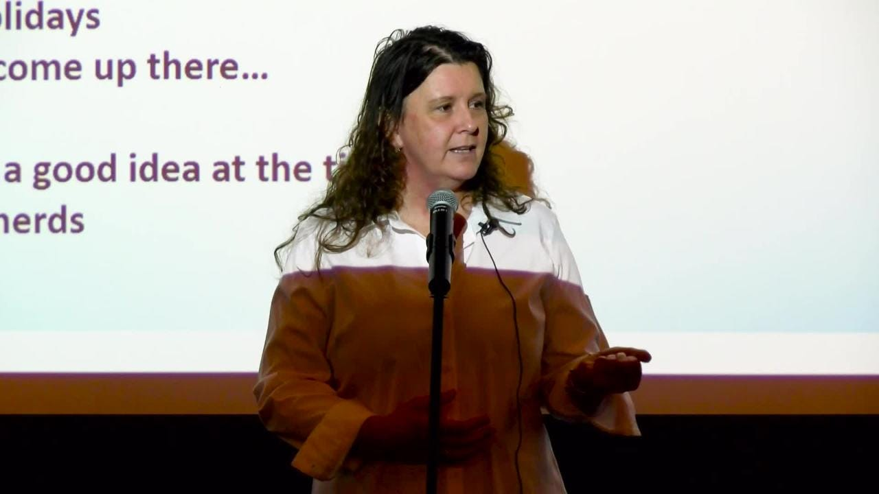 """Tina Charles tells her story with the topic of """"My Hero"""" at Wyndridge Farm, September 12, 2018."""