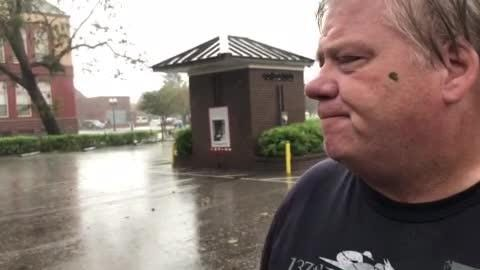 Jim Rushton decided to ride out Hurricane Florence. Now his neighborhood is seeing heavy flooding.