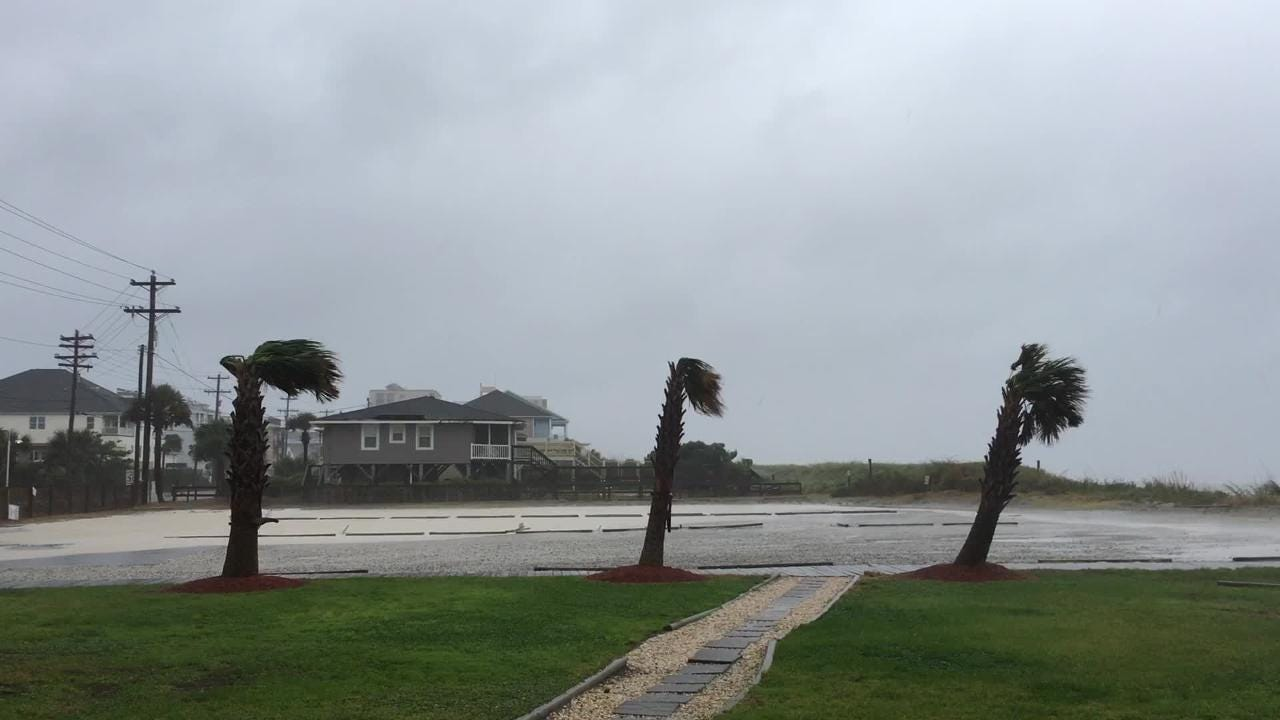 Strong winds put palm trees to the test near a parking lot in North Myrtle Beach, S.C. Friday, Sept. 14, 2018, following Hurricane Florence's landfall.