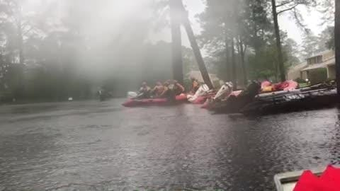 A swift water rescue underway in the town of River Bend, North Carolina, where high waters from Florence is flooding.