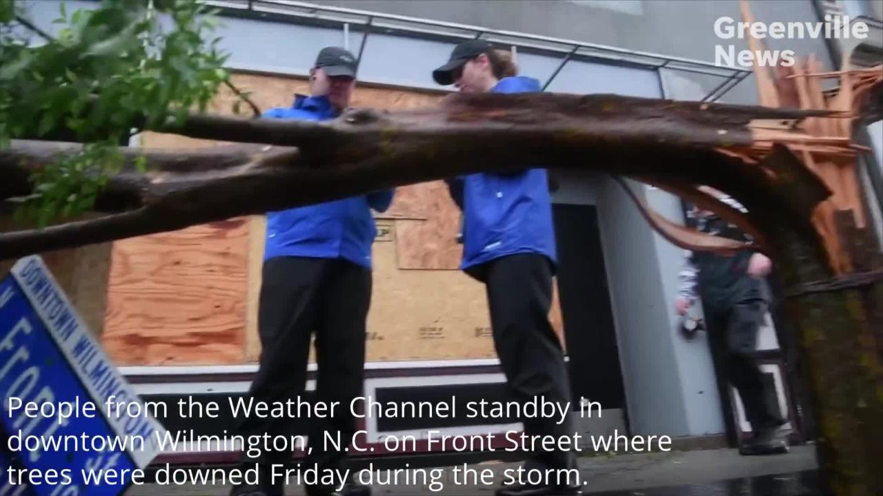 Wilmington, N.C. was hit hard Friday, Sept. 14, 2018 during Hurricane Florence. Two fatalities here were among the first storm-related deaths reported. Footage from Ken Ruinard and Daniel J. Gross.