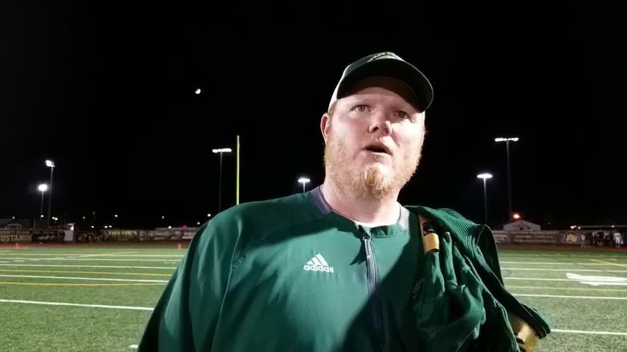 Viera head coach Derek Smith talks about his team's 27-24 win at Merritt Island, notching his first victory as the Hawks' head coach.
