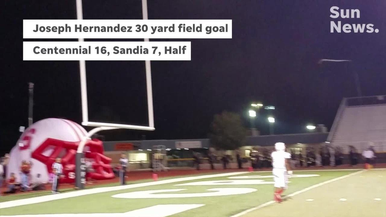 Centennial beat Sandia 43-7 Friday night at the Field of Dreams to improve to 4-0 on the season.