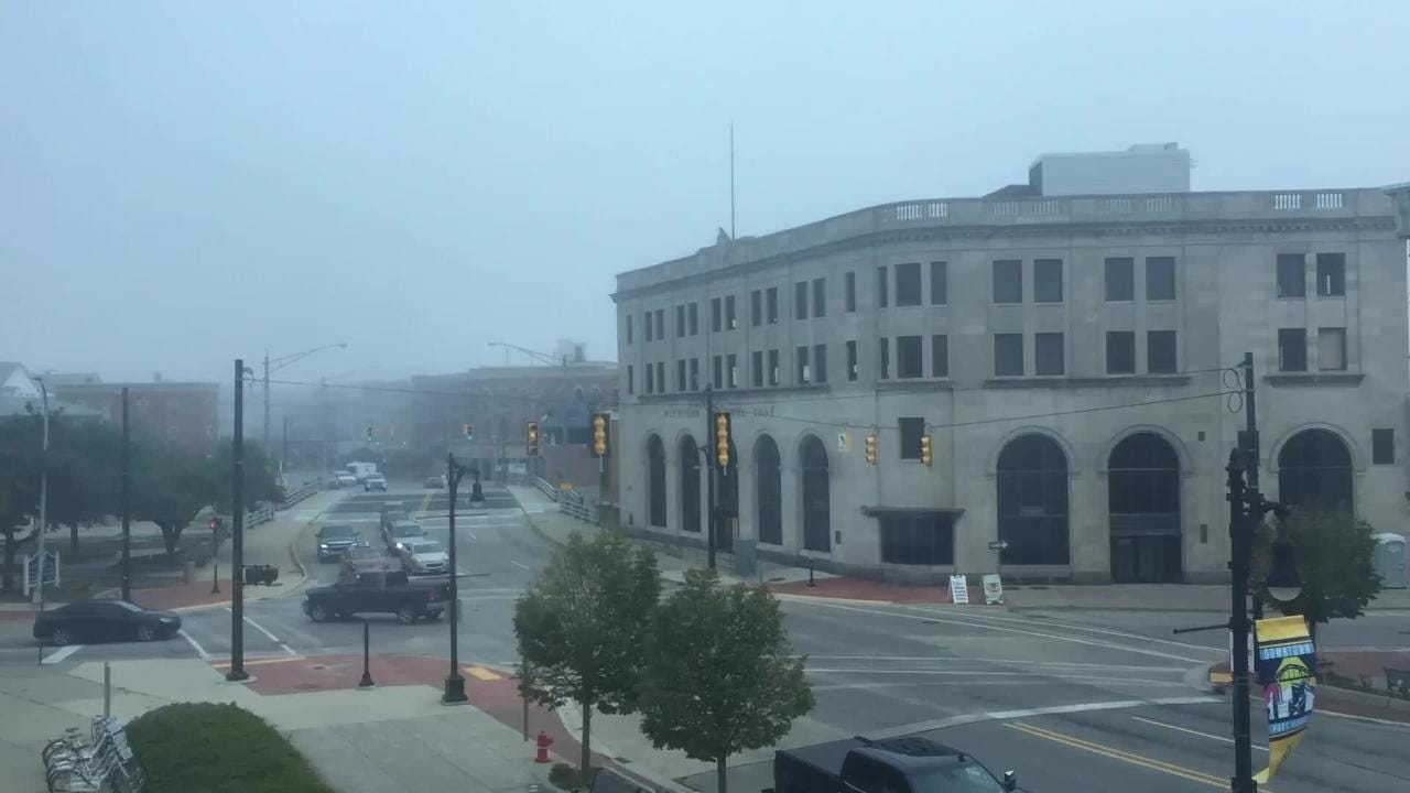 Time lapse photography shows banks of fog rolling through Port Huron's downtown