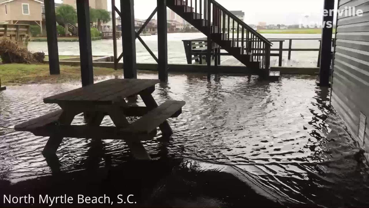 The Cherry Grove Pier area of North Myrtle Beach sustains flooding Saturday, Sept. 15, 2018, a day after Hurricane Florence came through. Footage from Josh Morgan.