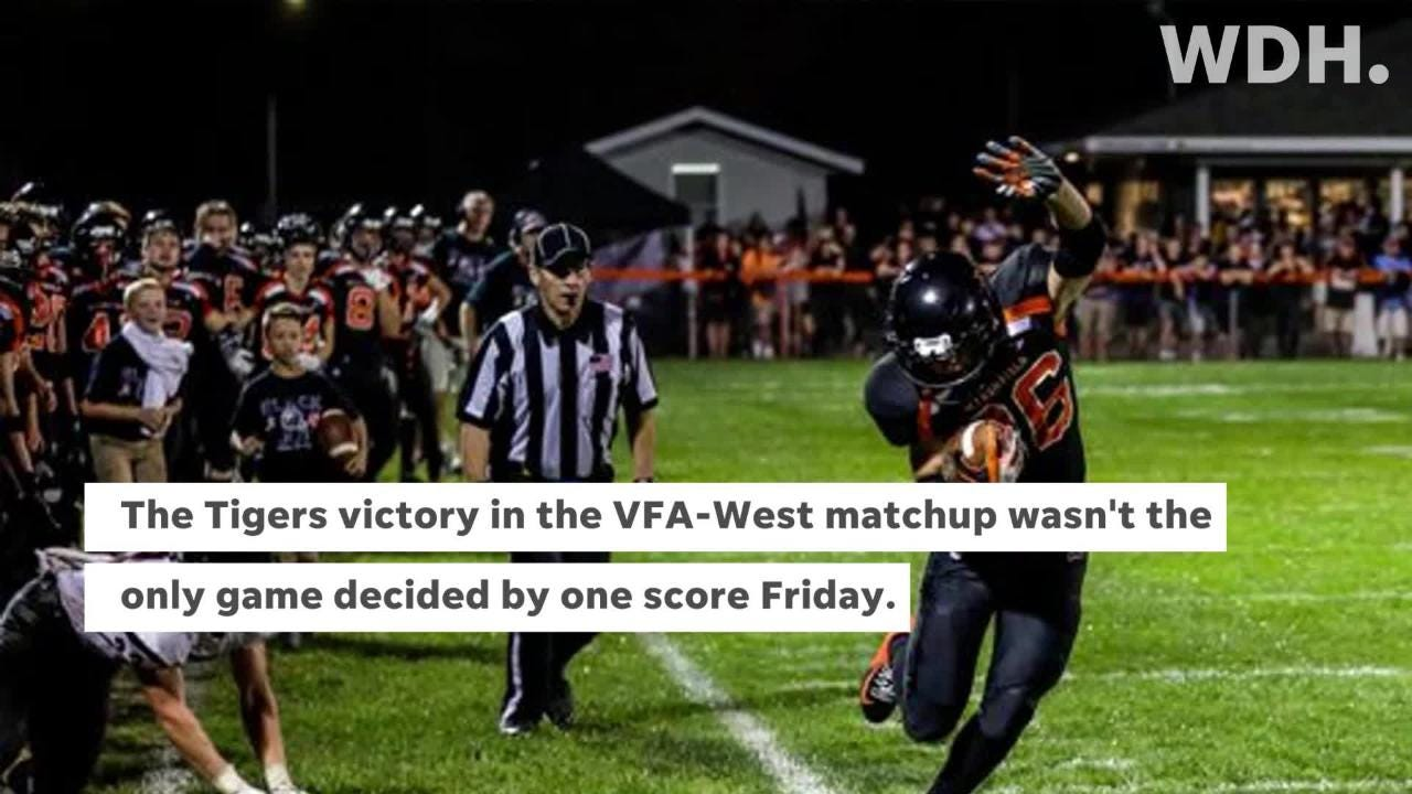 Marshfield edged SPASH 13-7 in a VFA-West game but it wasn't the only matchup on Friday decided by one score.
