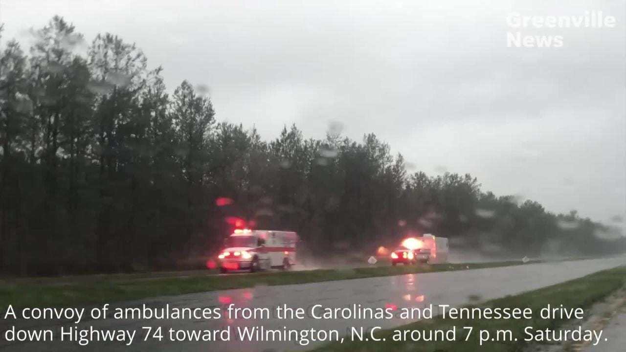 Conditions on Highway 74 in Columbus County, NC, about 60 miles west of Wilmington, are impacted by floodwaters Saturday, Sept. 15, 2018, a day after Florence came through the area. Footage from Daniel J. Gross.