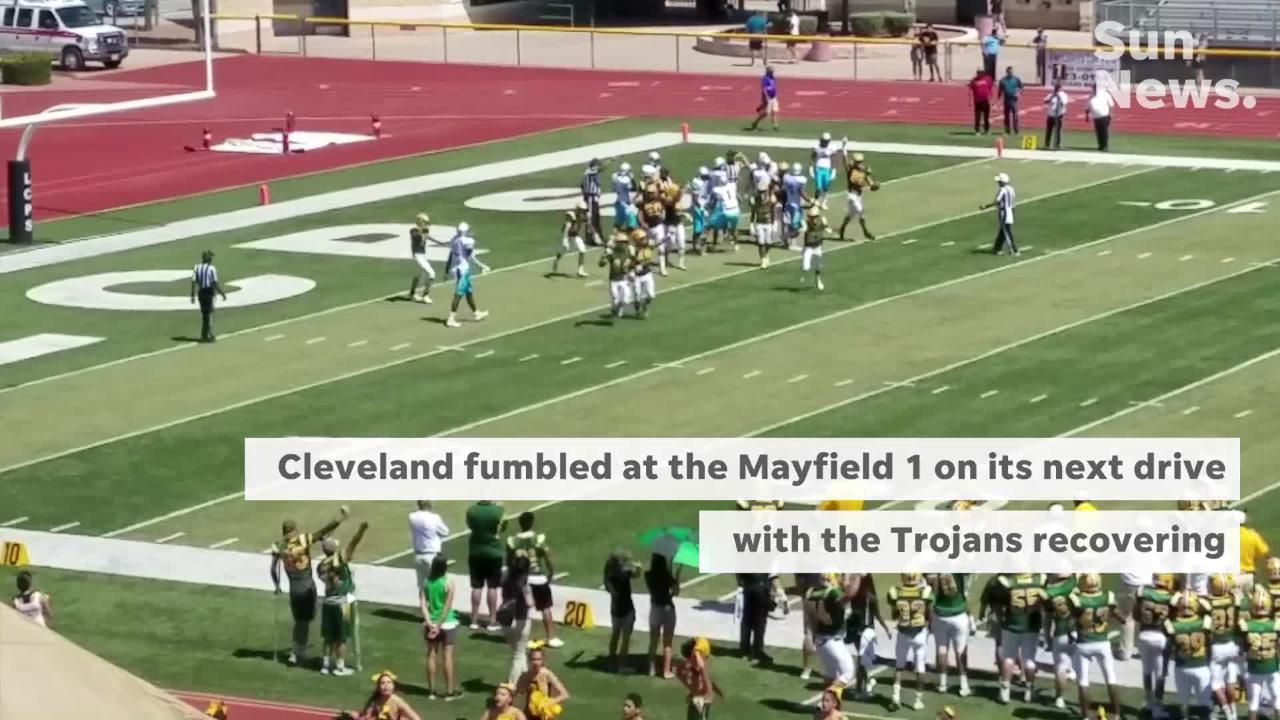 Mayfield lost to No. 1 Cleveland 41-6 on Saturday at the Field of Dreams.