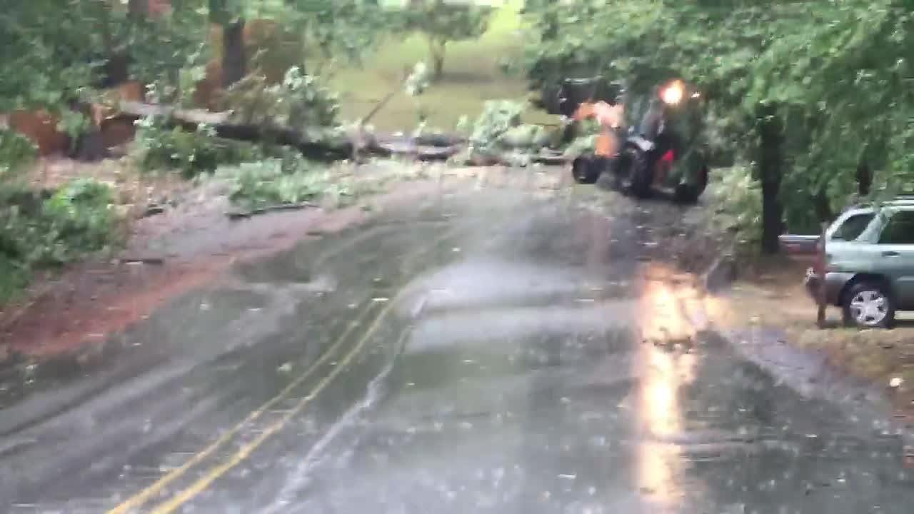 It was windy day Sunday, Sept. 16, 2018 as remnants of Hurricane Florence came through. A crew cleared the road at Robin Hood Road and Scarlett Street.