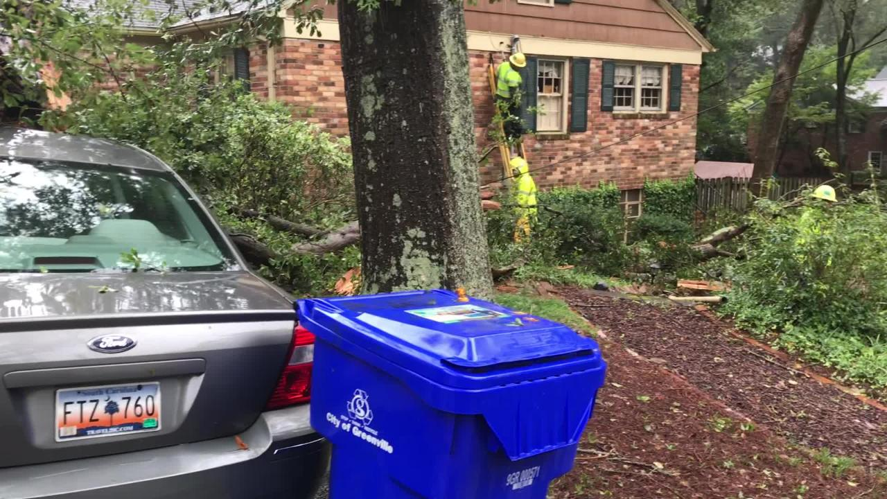Power was out Sunday, Sept. 16, 2018, at 123 Woodland Way in Greenville, where a 100-foot oak lost a branch, took out the home's power line and then smashed down on top of a PT cruiser and Ford sedan parked in the driveway.