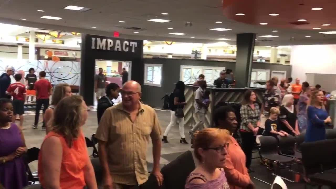 Music played Sept. 16 during Impact Church's first service at its new home inside Lansing Mall.