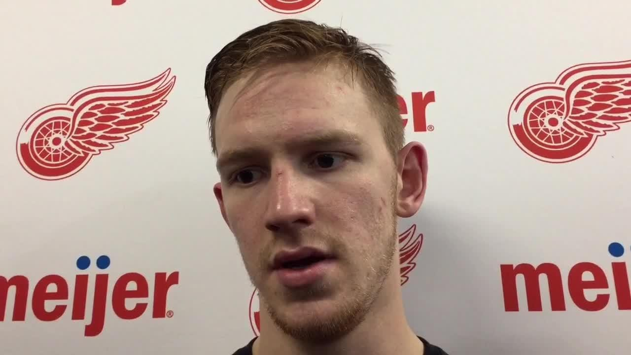 Detroit Red Wings prospect Evgeny Svechnikov talks about his path forward. Traverse City, Sept. 16, 2018.