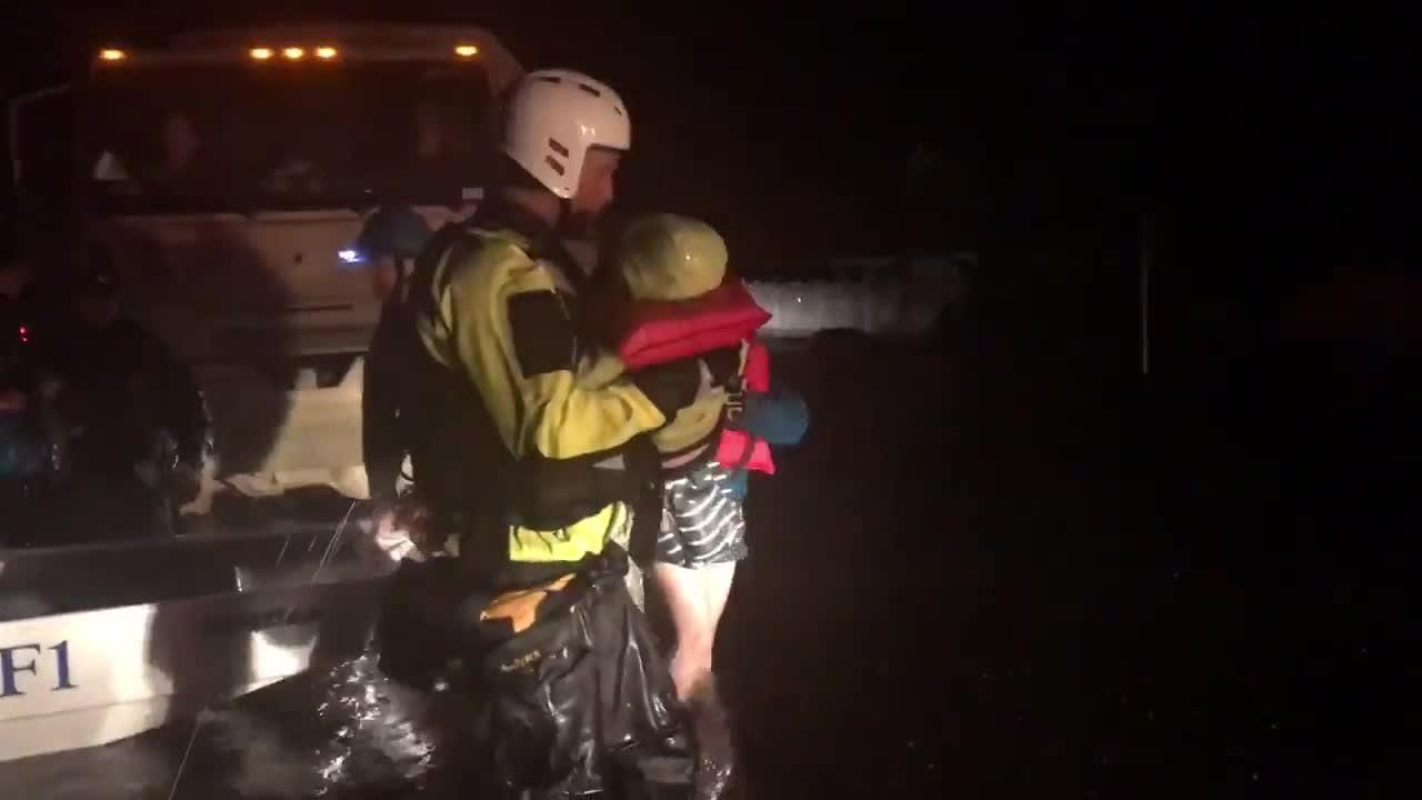 Indiana Task Force One members rescue North Carolina residents from flooding caused by Hurricane Florence.