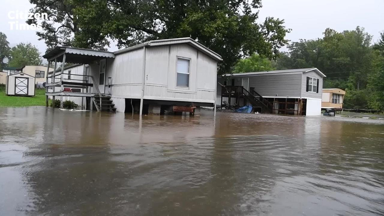 The Portman Villas Mobile Home Park in Black Mountain was flooded by Flat Creek causing evacuations on Sept. 16, 2018.