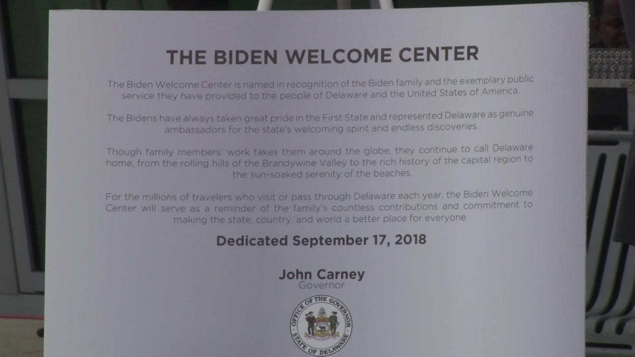 The Delaware Welcome Center along I-95 was renamed Monday morning in honor of the Biden family.  9/17/18