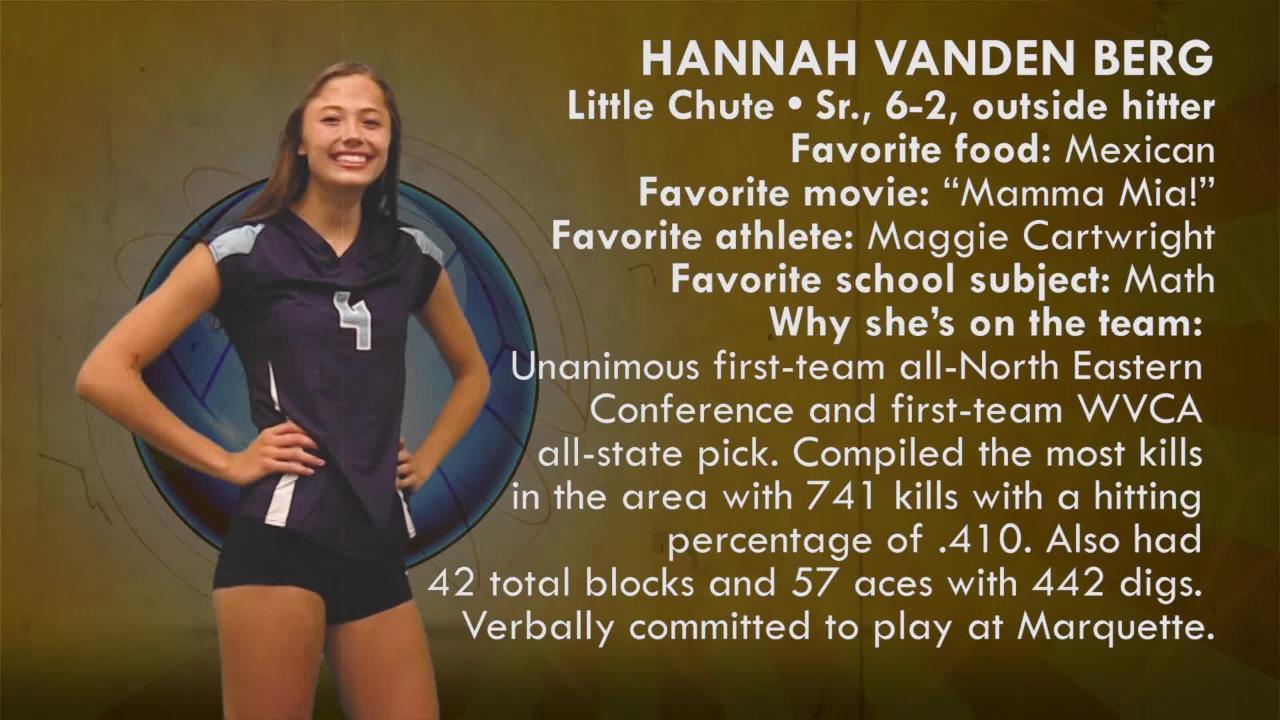 Sensational 6 volleyball 2018: Hannah Vanden Berg |  Little Chute Mustangs