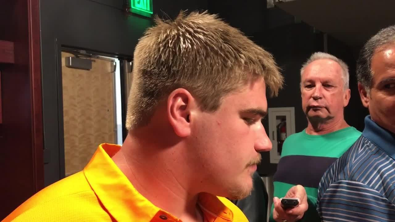 Tennessee offensive lineman Ryan Johnson's favorite game to play in is Tennessee vs. Florida