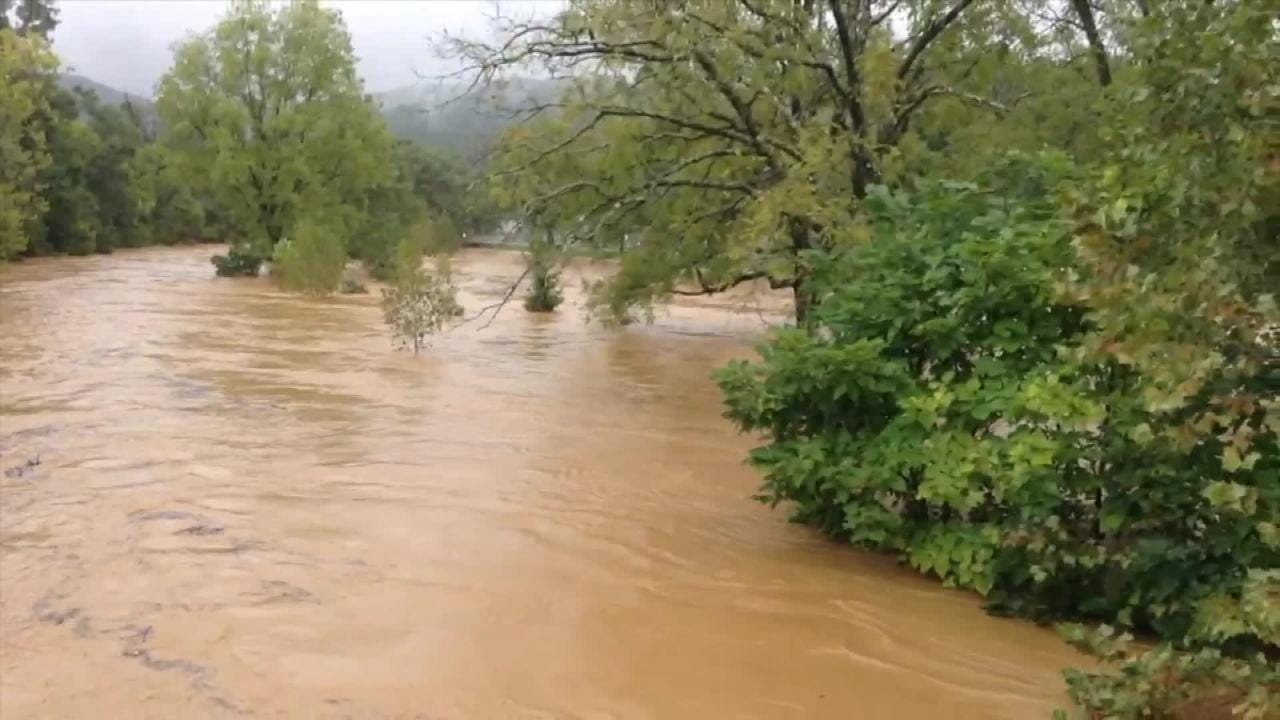 The South River rages after heavy rain caused by now Tropical Storm Florence, Monday, Sept. 17, 2018